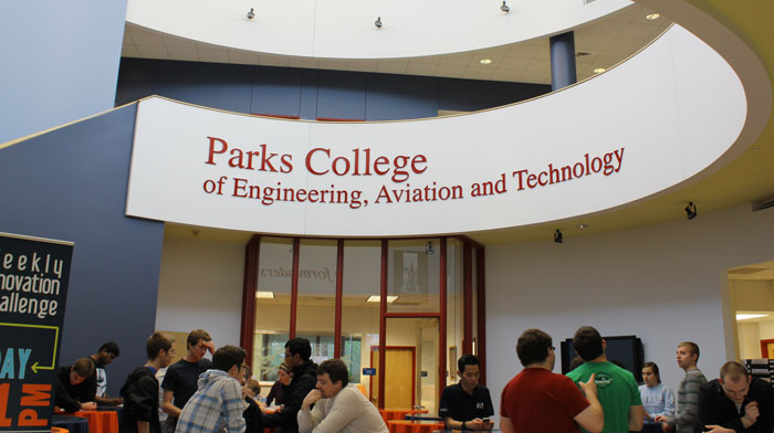 The Parks College of Engineering, Aviation and Technology rotunda during the Weekly Inovation Challenge.  Kristen Miano/ News Editor