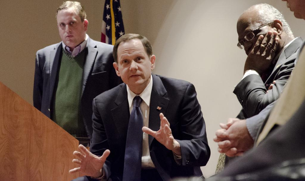 Moving forward: Mayor Slay speaking during Wednesday night's panel. Photo by Ryan Quinn / Staff Photographer