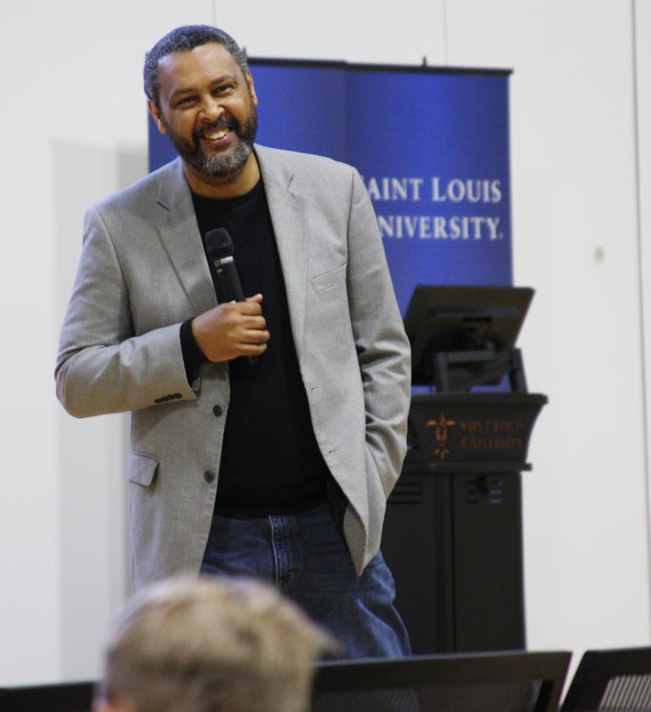 """Wilmott: The University of Kansas professor discusses his film """"Jayhawkers"""" after the viewing. Photo by Jessica Winter / Associate News Editor"""