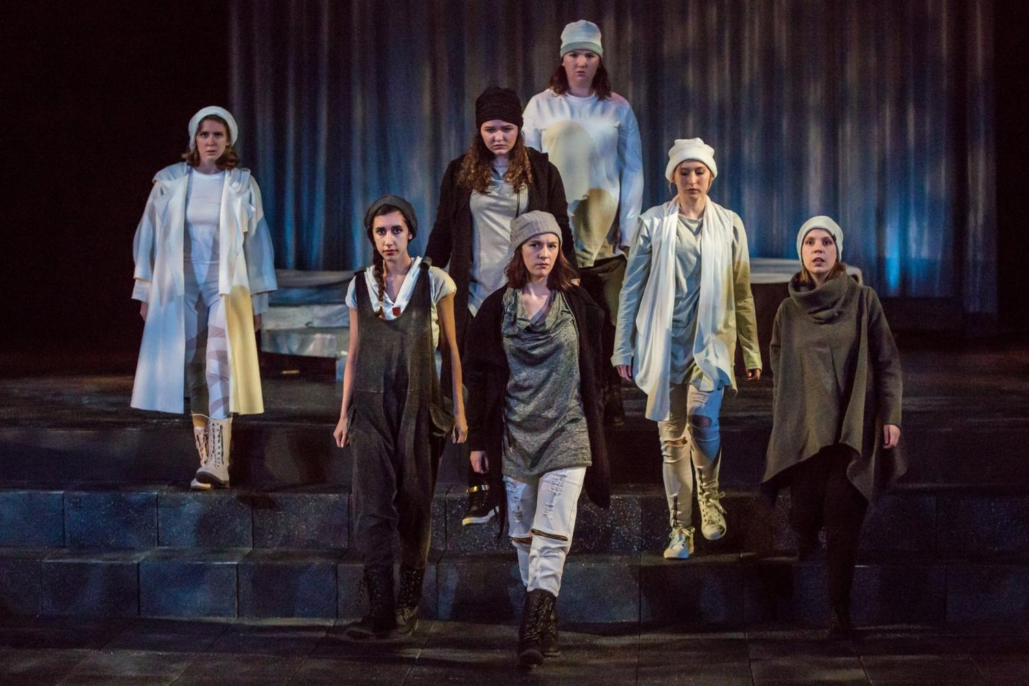 Marilyn Arnold, Parvuna Sulaiman, Tori Thomas, Erica Withrow, Claire Cunningham, Hannah Balint and Miranda Jagels Félix all represent various permutations of the character Antigone.