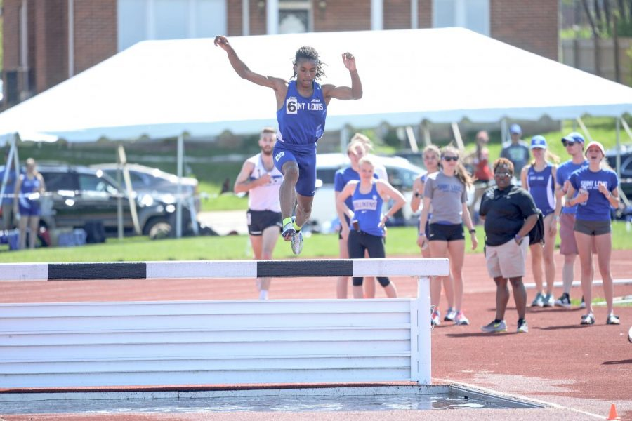 Junior+Dorrian+Gordon+jumped+over+the+hurdle+during+the+steeplechase.+Gordon+ran+9%3A24.62+in+the+3000-meter+steeplechase%2C+the+third+best+time+in+the+A-10.