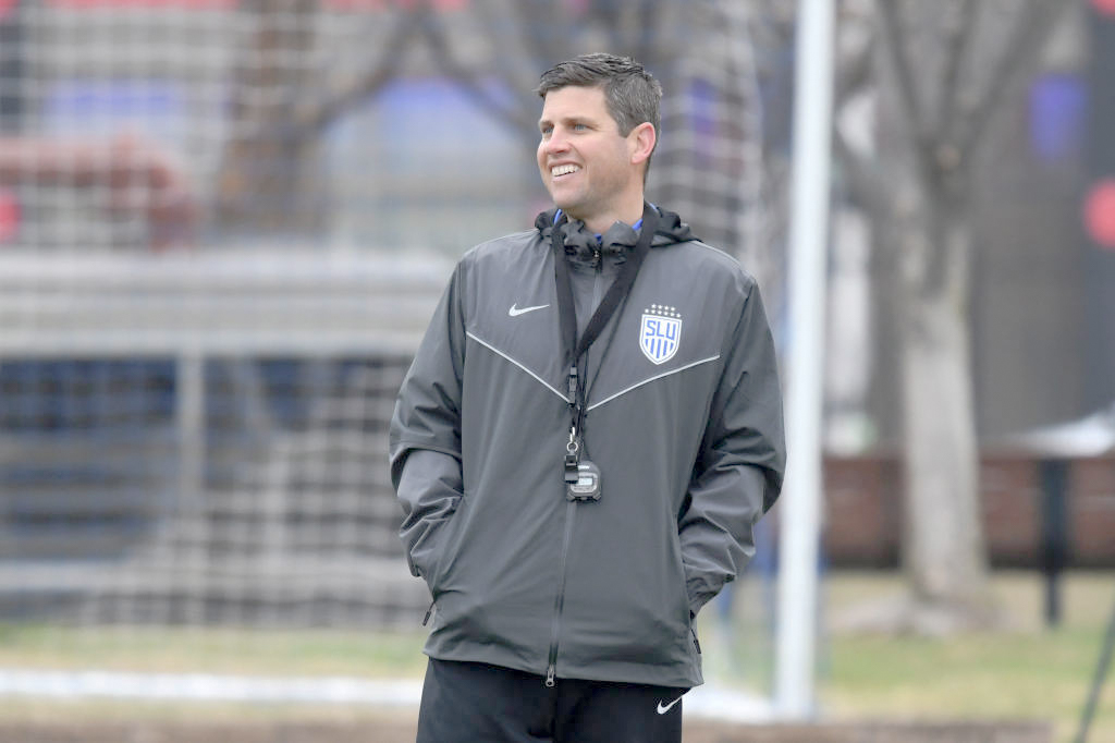New SLU Men's Soccer Head Coach Kevin Kalish looks on during practice. Kalish was named head coach in January and posted first win over NIU.