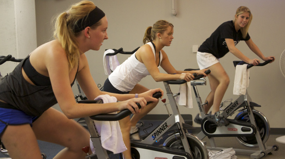 The spinning class is one of the most popular courses offered by the Simon Recreation Center. The Rec offers courses for all types of physical activities. Kelly Hinderberger/ Associate Photo Editor