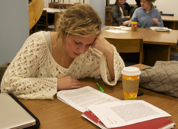 Junior Mary Anderson uses caffeine to aid in her studying at Pius XII Memorial Library. Kelly Hinderberger / Associate Photo Editor