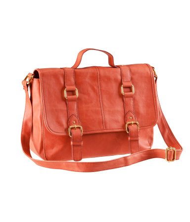 This H&M imitation leather messenger bag ($24.95) in Orange provides a pop of color and a douse of usefulness (Image courtesy of H&M.com).