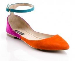 These funky flats (Hattie Flat, $79.98) would look great with dark-wash skinny jeans and a loose, three-quarter length sleeve white henley for a casual but cute look (Photo courtesy of ShoeMint.com).