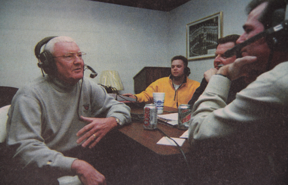 Charlie Spoonhour (left) discusses his decision to retire as the coach of the Saint Louis University men's basketball team on the KFNS radio show on March 5, 1999. Spoonhour passed away on Wednesday, Feb. 1.File Photo by: Erik Lunsford / The University News