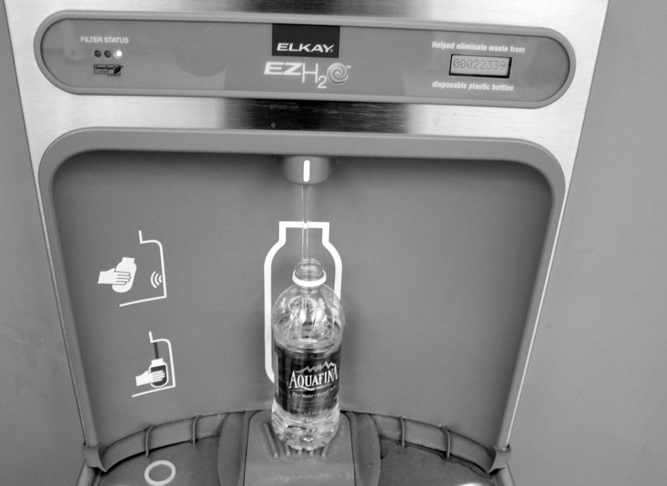 Water+bottle+filling+station+located+on+the+second+floor+of+the+Busch+Student+Center.+Kristen+Miano%2FAssociate+News+Editor+
