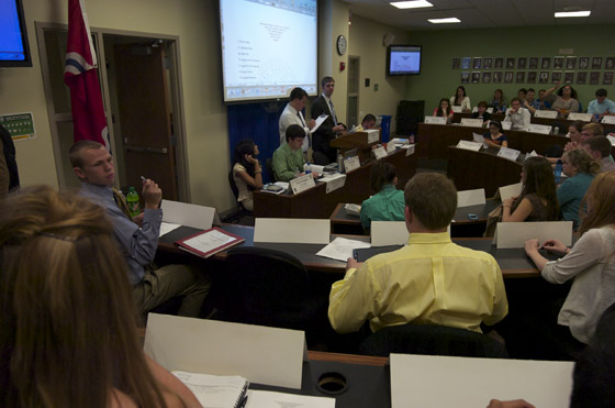 The Student Government Association deliberates amendments to the association's bylaws on Wednesday, April 25. Fangyu Wu/ Staff Photographer