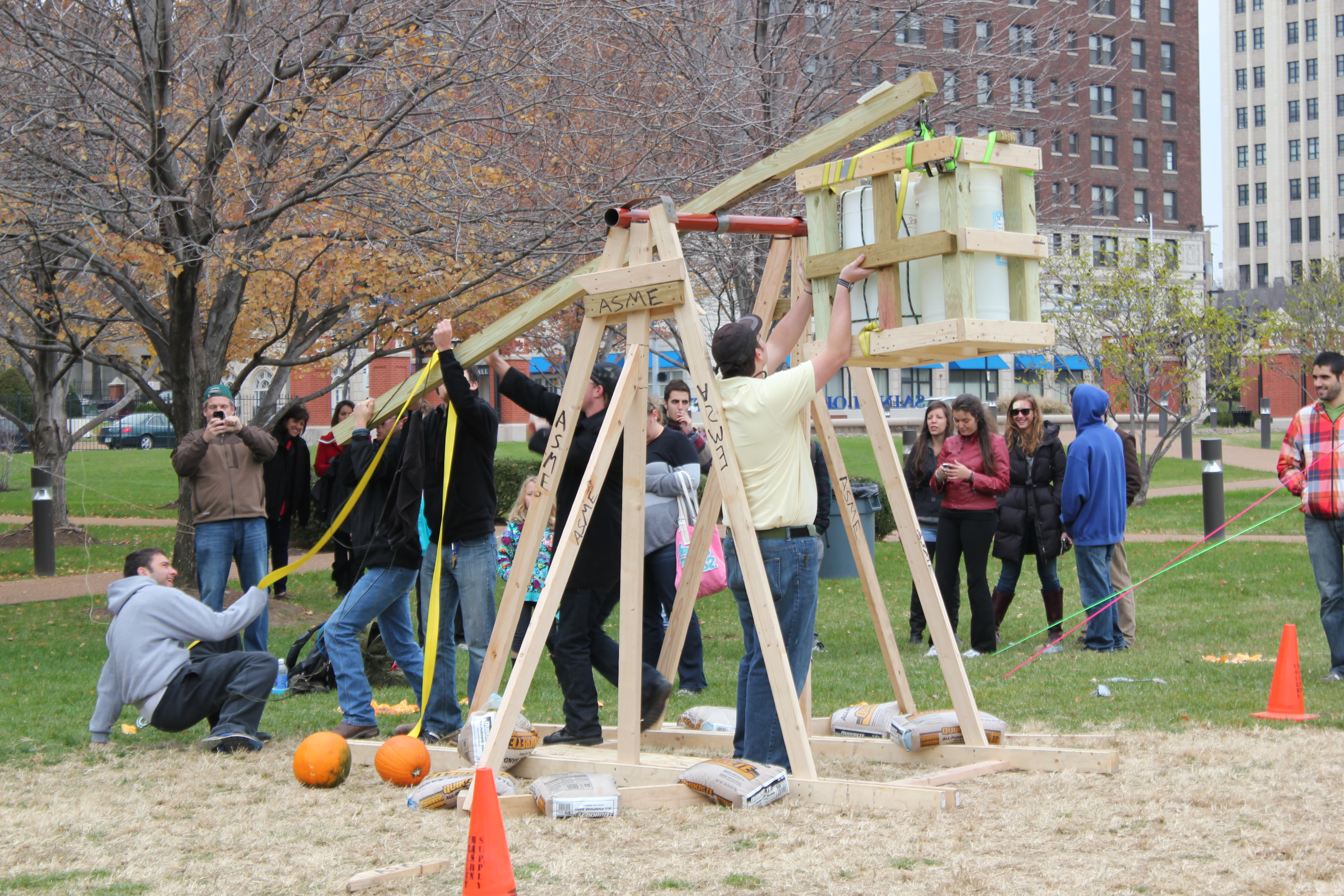 Members of ASME participate in the annual Great Pumpkin Launch on Sat. Nov. 3. Wolf Howard/ Associate News Editor