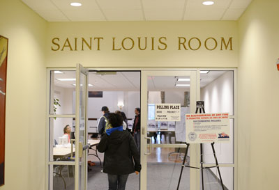 Students line up to vote in the St. Louis Room. John Schuler/Photo Editor