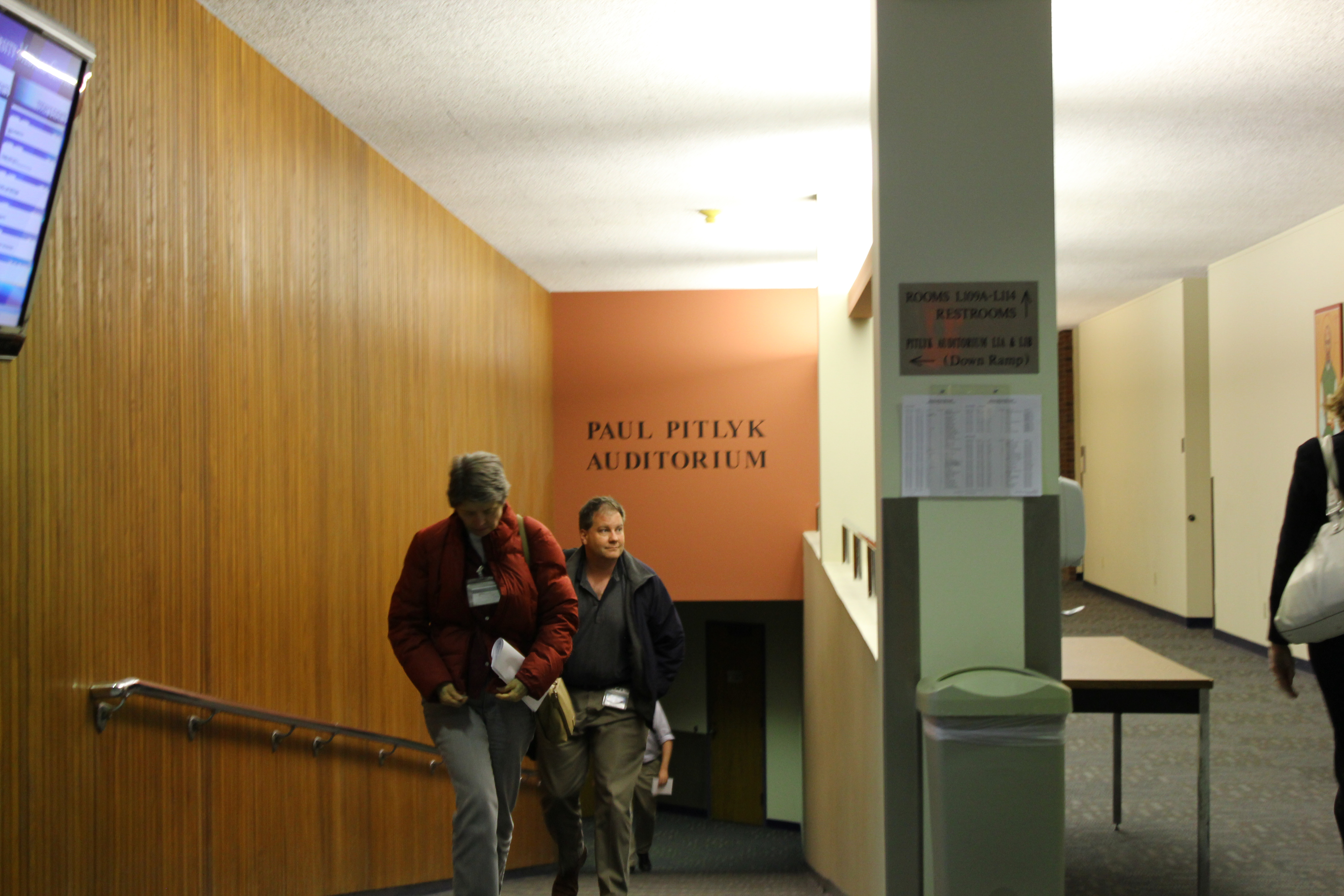 Kristen Miano/News Editor Attendants of the Faculty Senate Meeting on Tuesday Nov. 13 exit the Pitlyk Auditorium.