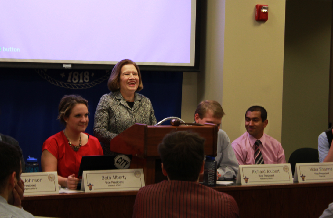 Kristen Miano / Editor-in-Chief Ellen Harshman, Interim Vice President of Academic Affairs, presents to SGA.
