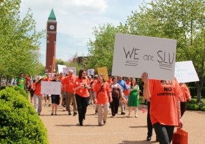 Kristen Miano / Editor in Chief Students, faculty march in support of 'No Confidence' votes.