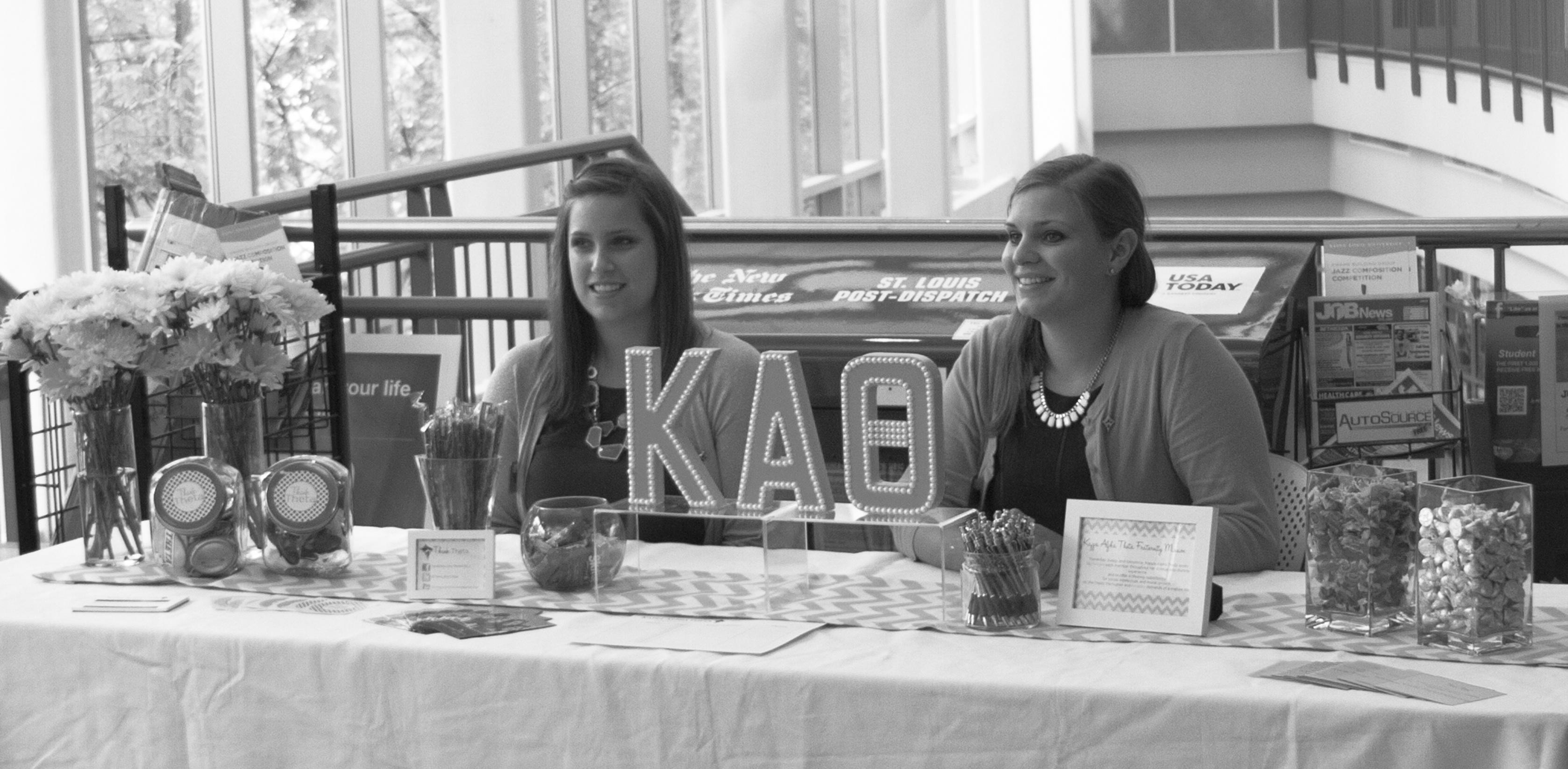 Wolf Howard/News Editor Tabling: Kappa Alpha Theta representatives recruiting members in the BSC.