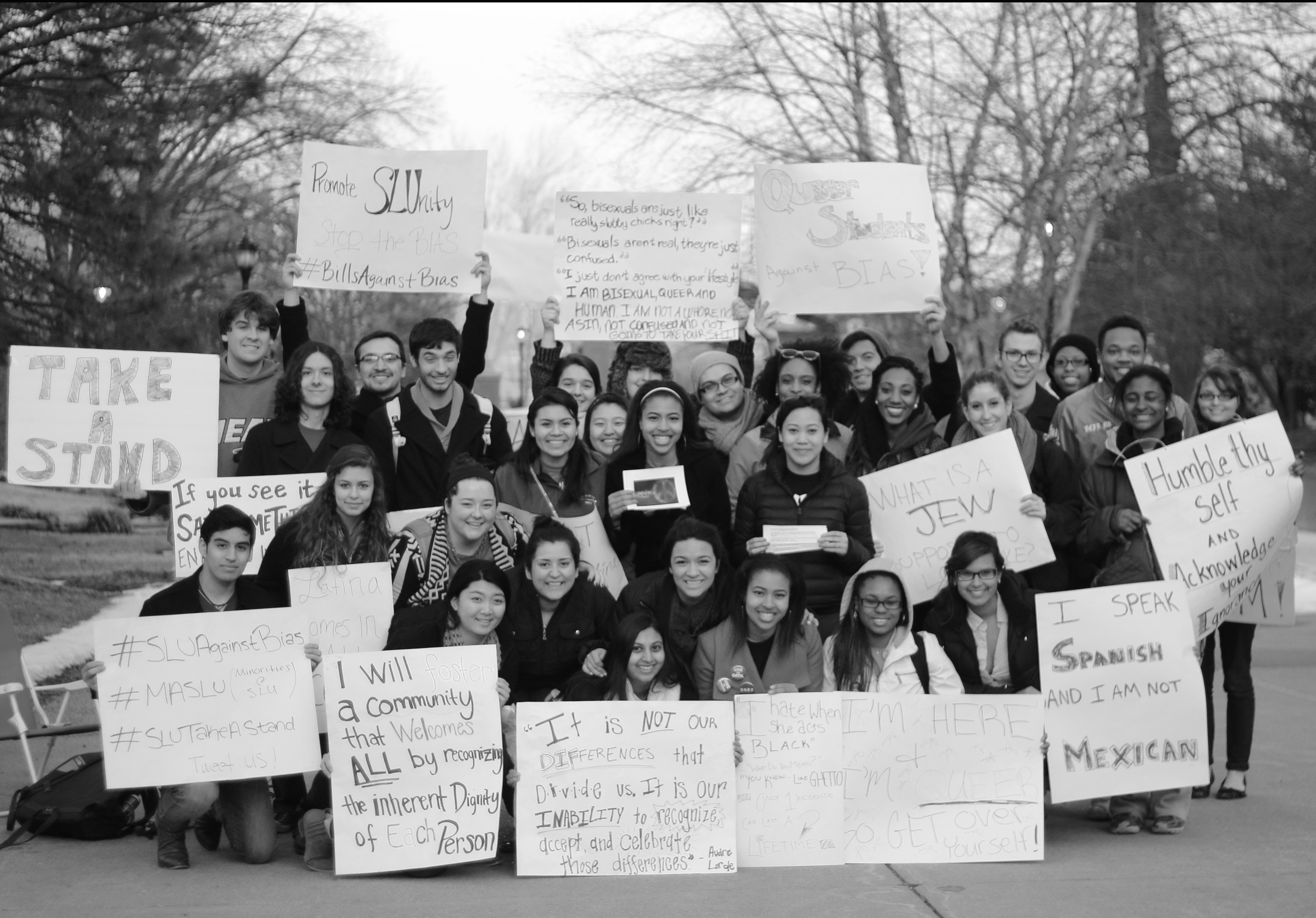 Standing against bias: SLU students at the Billikens Against Bias Incidents sit-in. The protest was inspired by the recently reported incident concerning one of SLU's sororities.  Photos courtesy of Christopher Martin