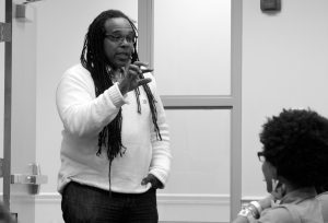 Jessica Winter / Associate News Editor Smith: Professor Smith discusses the aspects of black humor with students at BSA event.