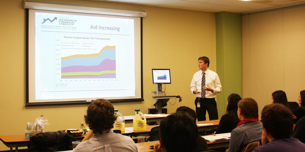 Jessica Winter / Associate News Editor Student debt: Bryan Noeth discusses student aid increases with Atlas participants.