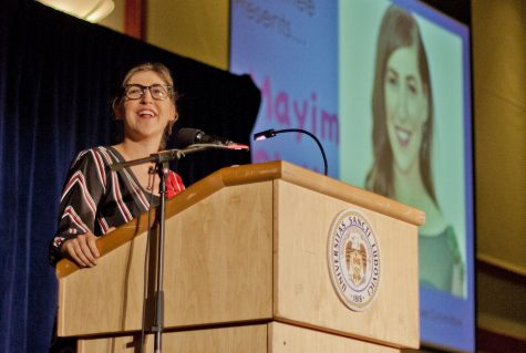 The best of both worlds: Known as Dr. Amy Farrah Fowler on The Big Bang Theory, Bialik elaborated on the parallel worlds of science and acting that define who she is today.  Deirdre Kerins/ The University News