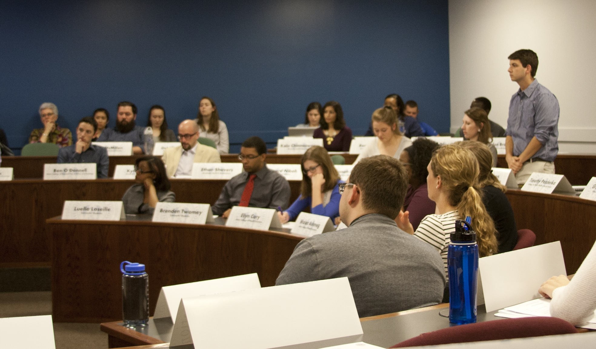 Senators seeking solutions: SGA senator Mike Degnan directs a question to Sue Chawszczewski, the Director of Campus Ministry at SLU. Chawszczewski outlined many Campus Ministry intiatives, including new mission trips. Paul Brunkhorst / Associate News Editor
