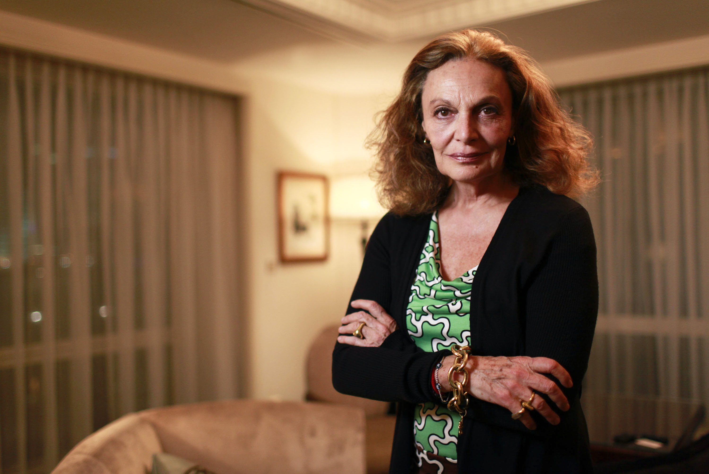 Designer Diane von Furstenberg poses for a photograph in Shanghai, China, on Monday, March 28, 2011. Von Furstenberg, who made marketing her clothes in China a New Year resolution, plans to sell products online as part her efforts to win more customers in the world's second-biggest economy. Photographer: Qilai Shen/Bloomberg *** Local Caption *** Diane von Furstenberg   ORG XMIT: 111120470