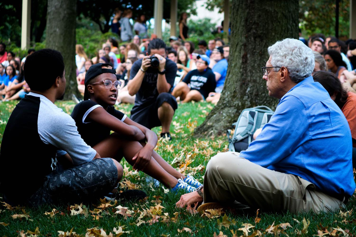 SLU+president+Dr.+Fred+Pestello+joins+students+Tre+Watterson+and+Mya+Petty+to+listen+to+their+concerns+related+to+both+the+Jason+Stockley+verdict+and+the+issues+they+face+as+students+of+color+on+campus.