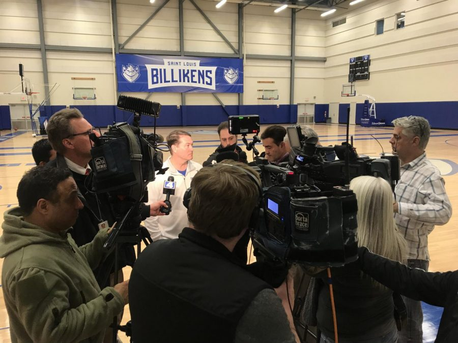 SLU+Men%27s+Basketball+head+coach+Travis+Ford+addresses+the+media+on+Tuesday%2C+Feb.+13.+Freshman+guard+Jordan+Goodwin+has+been+suspended+for+the+remainder+of+the+season.