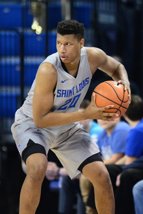 Sophomore forward Jalen Johnson thinks about what to do with the ball. Johnson came to SLU, and hasn't looked back since signing with the Billikens.