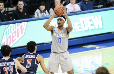 Jordan Goodwin pulls up to shoot in the Billikens' conference loss to Richmond on Wednesday night. This is the Bills second loss in Chaifetz Arena and second in a row.