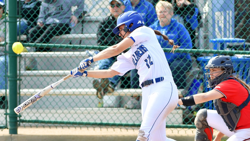 Freshman Gabbie Kowalik smashes a home run in the Billikens' conference win over UMass. The Bills travel to Washington, D.C. this weekend to take on George Washington. Photo Courtesy of Billiken Athletics