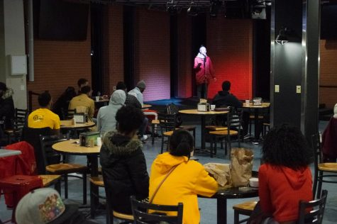Students and locals gathered in the BSC to enjoy dinner and slam poetry.