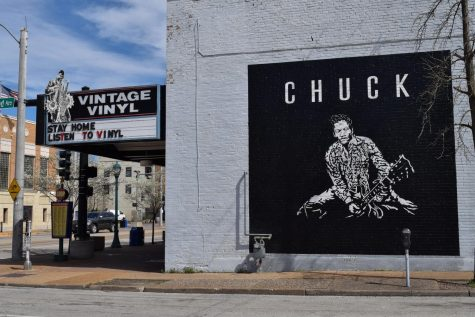 This mural of the King of Rock and Roll, Chuck Berry, was actually commissioned by Vintage Vinyl before Berry died on March 18, 2017. When news of his death hit the Loop, the celebratory mural by Topcoat Sign Co. turned into a memorial.
