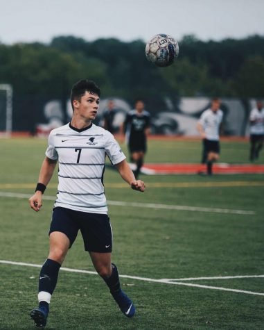 Sophomore, Seosamh Sheerin goes in for a header for Missouri Baptist soccer while playing William Woods. The NAIA has decided to continue with fall sports unlike many of the NCAA sports. (Photo courtesy of Missouri Baptist Athletics)