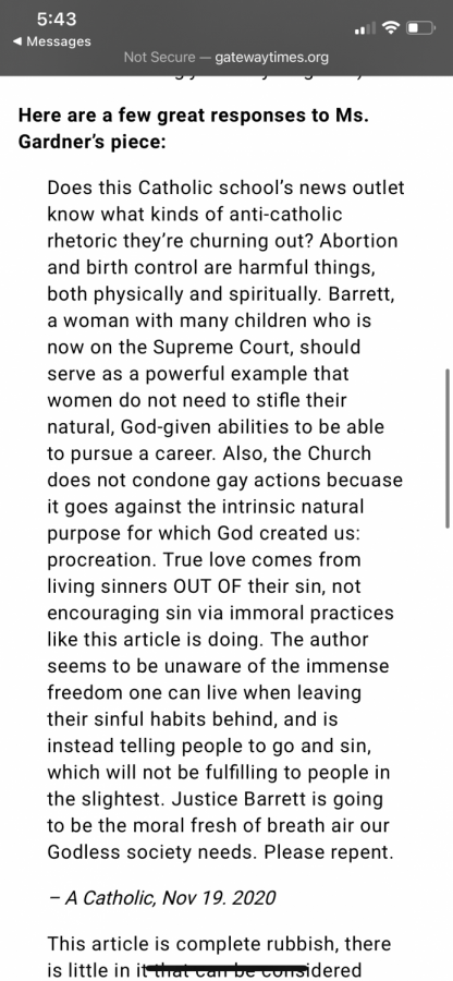 The second section of the response article, published on the Gateway Times website. This screenshot includes a comment that was originally posted on Gardner's UNews opinion article.