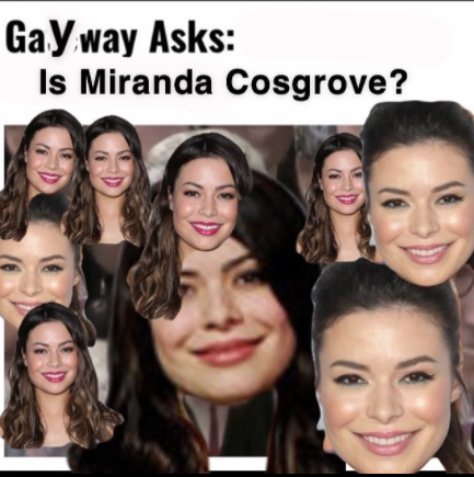 Satirical post on @thegaywaytimes Instagram account with actress Miranda Cosgrove superimposed on the image from Gateway for the poll on whether President Fred Pestello, P.h.D should be fired.
