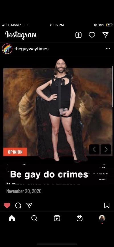 Satirical post on @thegaywaytimes Instagram account with Queer Eye star Jonathan van Ness superimposed on the image used for the response to Gardner's article.