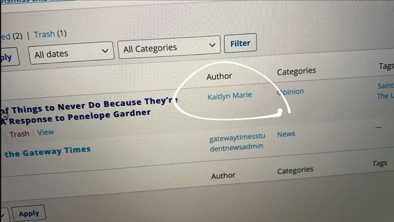 """A screenshot sent from the Gateway Times to UNews writer, Penelope Gardner, when she inquired who had written the response article. While the published version on the website read """"Kathryn Marie,"""" the writer's account on Gateway's end read """"Kaitlyn Marie."""""""