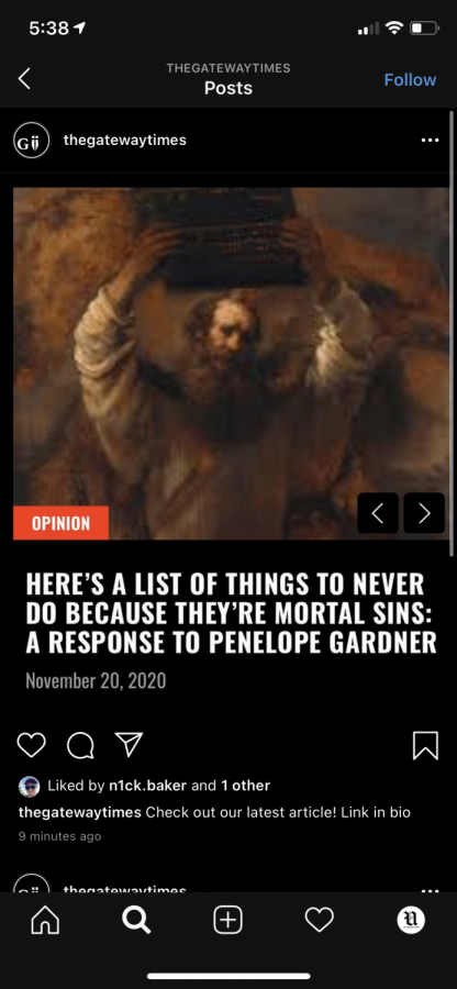 """Post on @thegatewaytimes Instagram account promoting their first opinion article entitled, """"Here's a List of Things Never to Do Because They're Mortal Sins: A Response to Penelope Gardner."""""""